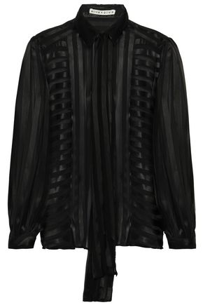 ALICE + OLIVIA Tie-neck striped burnout satin shirt