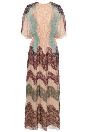 VALENTINO Open-back cape-effect lace maxi dress