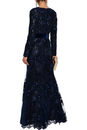BADGLEY MISCHKA Layered sequin-embellished embroidered tulle gown