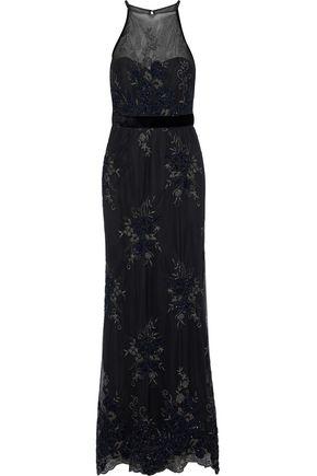 BADGLEY MISCHKA Velvet-trimmed embellished tulle halterneck gown