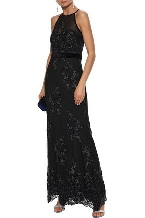 0881de659394 BADGLEY MISCHKA Velvet-trimmed embellished tulle halterneck gown