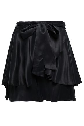 ZIMMERMANN Belted tiered washed-silk shorts