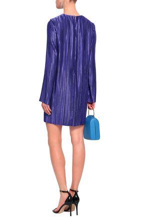 TIBI Plissé-satin mini dress