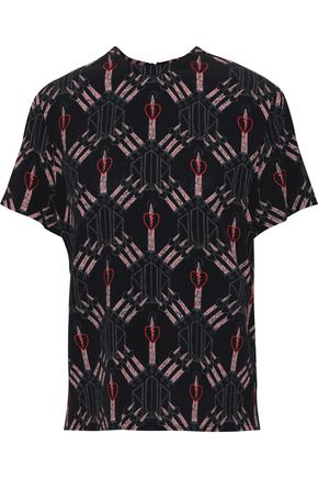 VALENTINO Printed washed-silk T-shirt
