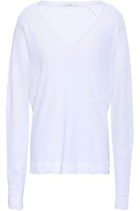 J BRAND Slub linen and cotton-blend top