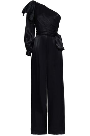 ZIMMERMANN Bow-detailed one-shoulder satin jumpsuit