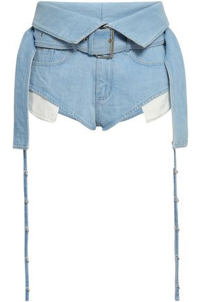 MARQUES' ALMEIDA Tie-detailed belted denim shorts