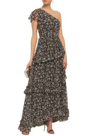 MIKAEL AGHAL One-shoulder ruffled floral-print georgette maxi dress