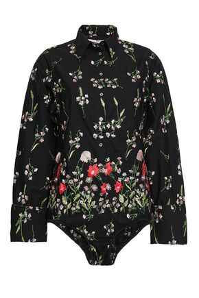 MARQUES' ALMEIDA Embroidered cotton-blend bodysuit