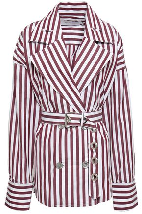 MARQUES' ALMEIDA Double-breasted belted striped cotton-poplin shirt