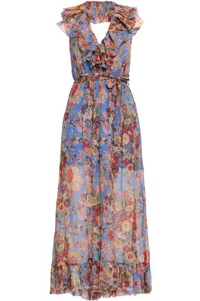 ZIMMERMANN Belted ruffled printed silk-georgette halterneck jumpsuit