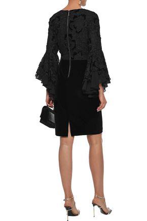 BADGLEY MISCHKA Layered guipure lace and velvet mini dress