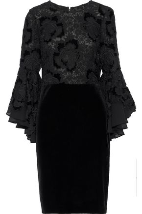 BADGLEY MISCHKA Layered guipure lace and velvet mini dress