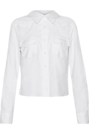 MILLY Cropped cotton Oxford shirt