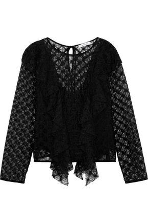 MILLY Ruffled macramé lace blouse