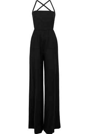 MILLY Apron open-back lace-up stretch-wool jumpsuit