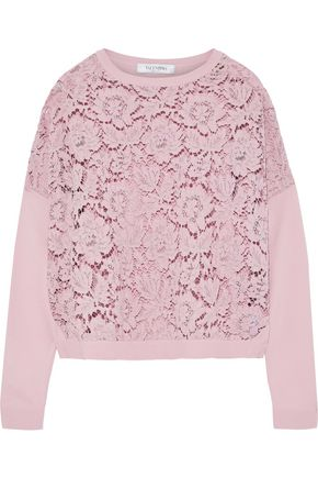VALENTINO Corded lace-paneled stretch-knit sweater