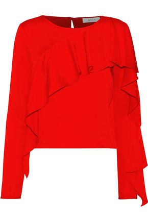 MILLY Ruffled stretch-silk blouse