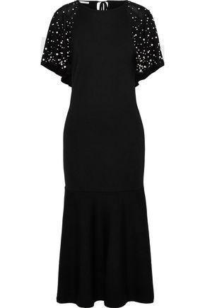 OSCAR DE LA RENTA Cape-effect faux pearl-embellished wool midi dress