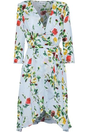 MILLY Audrey floral-print silk crepe de chine mini wrap dress