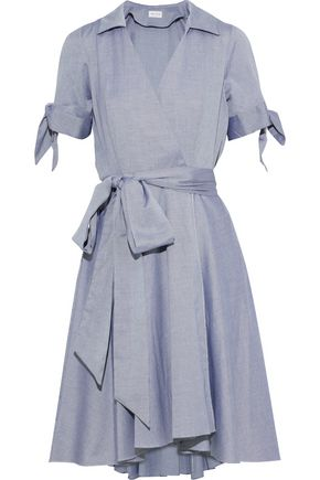 MILLY Knotted cotton-oxford wrap dress