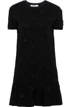 VALENTINO Fluted floral-appliquéd ponte mini dress