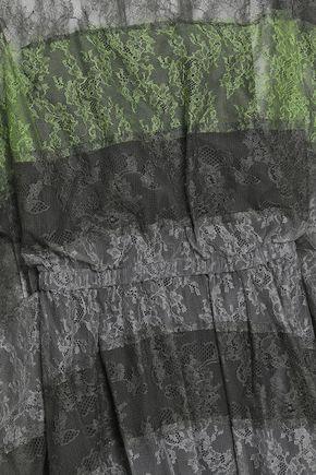 VALENTINO ドレープ入り パネルデザイン レース&シルクチュール ワンピース