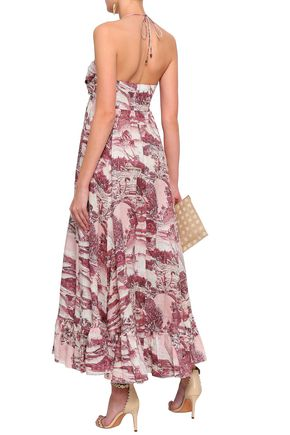 ZIMMERMANN Kali Hawaiian knotted printed linen halterneck maxi dress
