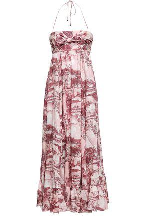 95ca04665d146 ZIMMERMANN Kali Hawaiian knotted printed linen halterneck maxi dress