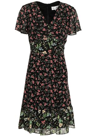 MIKAEL AGHAL Paneled floral-print georgette dress