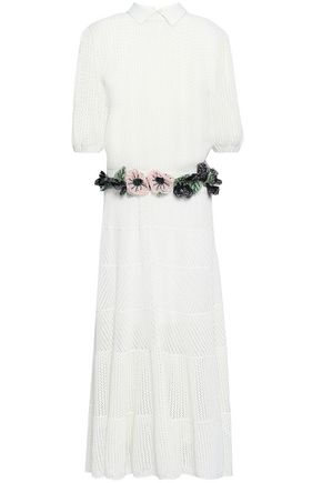 VALENTINO Embroidered crochet-knit midi dress