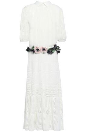 ヴァレンティノ 刺繡入り かぎ針編みニット ミディワンピース