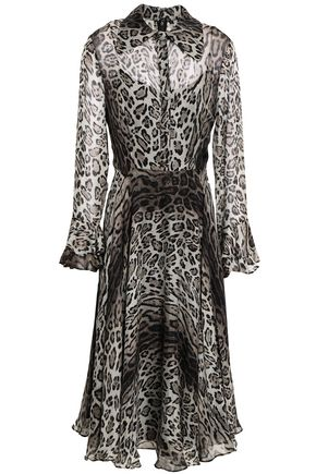 MIKAEL AGHAL Leopard-print voile midi dress
