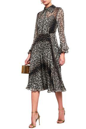 MIKAEL AGHAL Leopard-print voile midi dress