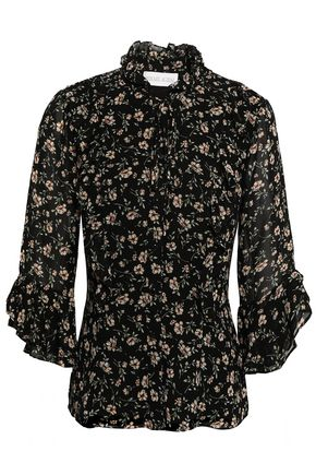 MIKAEL AGHAL Ruffle-trimmed floral-print georgette blouse