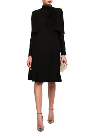 MIKAEL AGHAL Pussy-bow georgette-paneled layered crepe dress