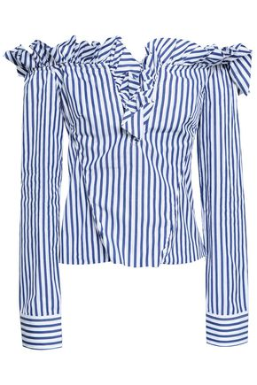 MARQUES' ALMEIDA Off-the-shoulder striped cotton-poplin shirt