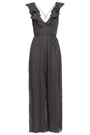 ZIMMERMANN Ruffled polka-dot silk-georgette jumpsuit