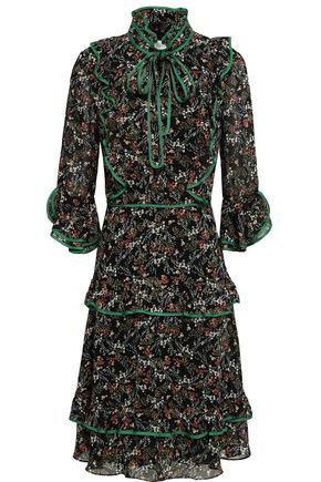 MIKAEL AGHAL Tiered pussy-bow floral-print georgette dress