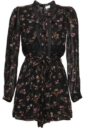 ZIMMERMANN Lace-up floral-print crepe playsuit