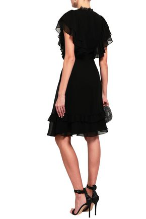 MIKAEL AGHAL Lace-paneled ruffled crepe de chine dress