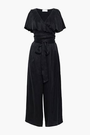 ZIMMERMANN Cutout ruffled washed-silk wrap jumpsuit