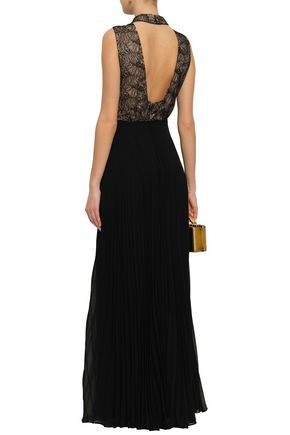 MIKAEL AGHAL Open-back lace-paneled pleated georgette gown