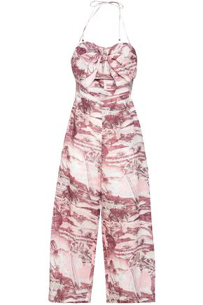 ZIMMERMANN Bow-embellished cutout printed linen jumpsuit