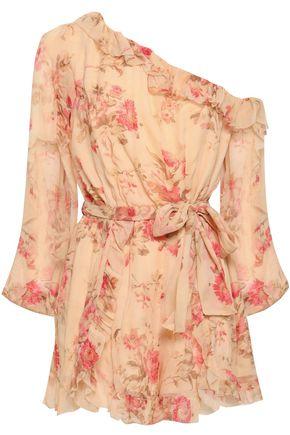ZIMMERMANN One-shoulder floral-print silk-georgette playsuit