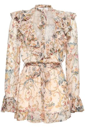 ZIMMERMANN Pussy-bow cutout printed silk-georgette playsuit