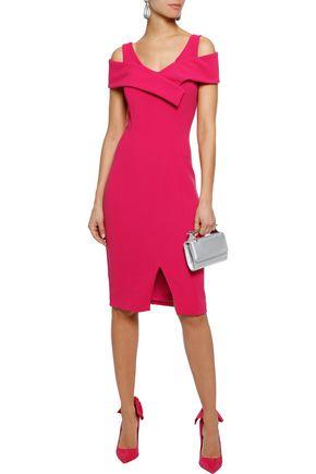 BADGLEY MISCHKA Cold-shoulder stretch-cady dress