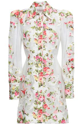 ZIMMERMANN Appliquéd floral-print linen and gauze mini shirt dress