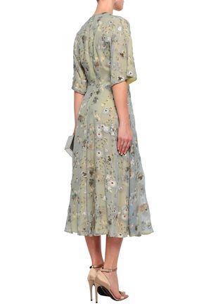 VALENTINO Fil coupé floral-print georgette midi dress