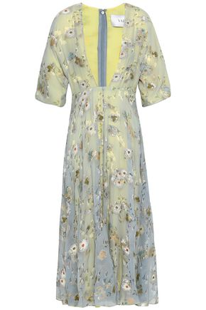 VALENTINO Fil coupé floral-print georgette midi dress